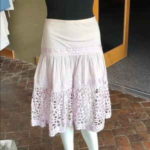 Catharine Malandrino lavender laser cut-out skirt